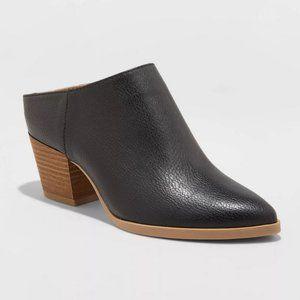 Makana Faux Leather Heeled Mule - Black